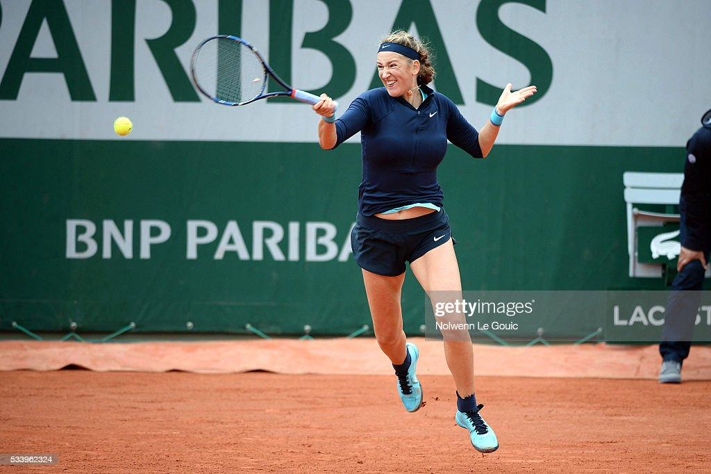 Victoria Azarenka during the Women's Singles first round on day three of the French Open 2016 at Roland Garros on May 24, 2016 in Paris, France.