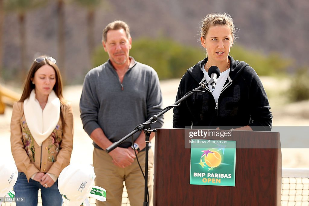 Victoria Azarenka of Belarus addresses the media and dignitaries in attendence at the ground breaking ceremony for the Indian Wells Tennis Garden expansion during the BNP Paribas Open at the Indian Wells Tennis Garden on March 8, 2013 in Indian Wells, California.