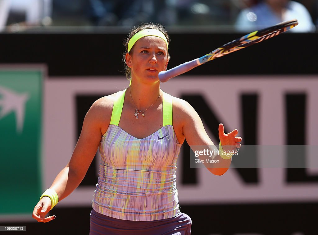 <a gi-track='captionPersonalityLinkClicked' href=/galleries/search?phrase=Victoria+Azarenka&family=editorial&specificpeople=604872 ng-click='$event.stopPropagation()'>Victoria Azarenka</a> of Belarus appearsfrustrated during the womens final against Serena Williams of the USA on day eight of the Internazionali BNL d'Italia 2013 at the Foro Italico Tennis Centre on May 19, 2013 in Rome, Italy.