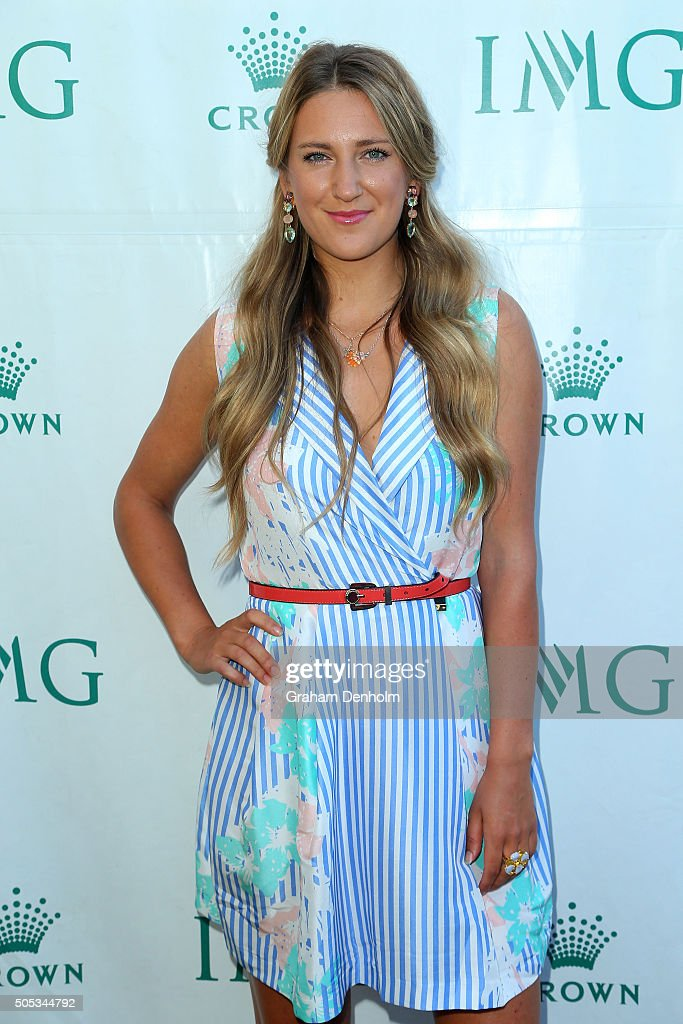 <a gi-track='captionPersonalityLinkClicked' href=/galleries/search?phrase=Victoria+Azarenka&family=editorial&specificpeople=604872 ng-click='$event.stopPropagation()'>Victoria Azarenka</a> of Belarus arrives at the 2016 Australian Open party at Crown Entertainment Complex on January 17, 2016 in Melbourne, Australia.