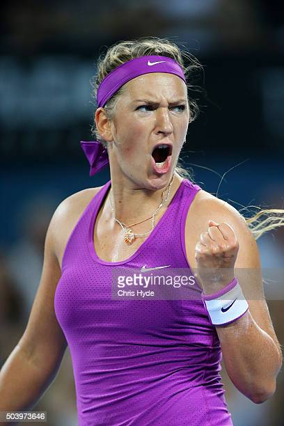 Victoria Azarenka of Belarus celebrates a point in her semi final match against Samantha Crawford of the USA during day six of the 2016 Brisbane...