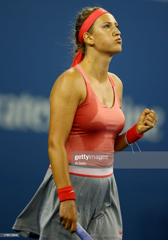 <a gi-track='captionPersonalityLinkClicked' href=/galleries/search?phrase=Victoria+Azarenka&family=editorial&specificpeople=604872 ng-click='$event.stopPropagation()'>Victoria Azarenka</a> of Belarus celebrates after defeating Daniela Hantuchova of Slovakia in a women's singles quarter final match on Day Ten of the 2013 US Open at the USTA Billie Jean King National Tennis Center on September 4, 2013 in the Flushing neighborhood of the Queens borough of New York City