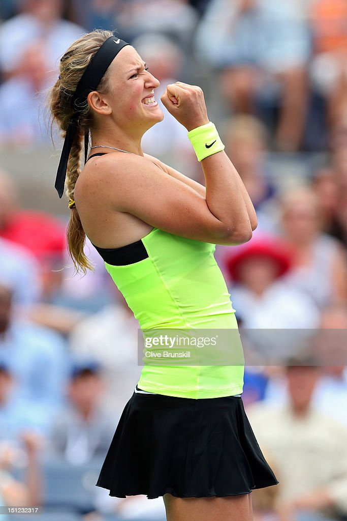 <a gi-track='captionPersonalityLinkClicked' href=/galleries/search?phrase=Victoria+Azarenka&family=editorial&specificpeople=604872 ng-click='$event.stopPropagation()'>Victoria Azarenka</a> of Belarus celebrates after defeating Samantha Stosur of Australia to win their women's singles quarterfinals match on Day Nine of the 2012 US Open at USTA Billie Jean King National Tennis Center on September 4, 2012 in the Flushing neighborhood of the Queens borough of New York City.