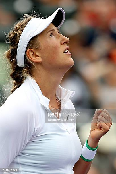 Victoria Azarenka of Belarus celebrates match point against Johanna Konta of Great Britain during the Miami Open presented by Itau at Crandon Park...