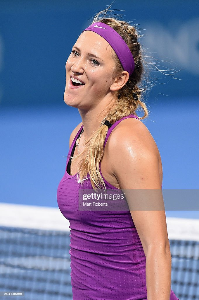 <a gi-track='captionPersonalityLinkClicked' href=/galleries/search?phrase=Victoria+Azarenka&family=editorial&specificpeople=604872 ng-click='$event.stopPropagation()'>Victoria Azarenka</a> of Belarus celebrates wiining her Women's Final against Angelique Kerber of Germany during day seven of the 2016 Brisbane International at Pat Rafter Arena on January 9, 2016 in Brisbane, Australia.