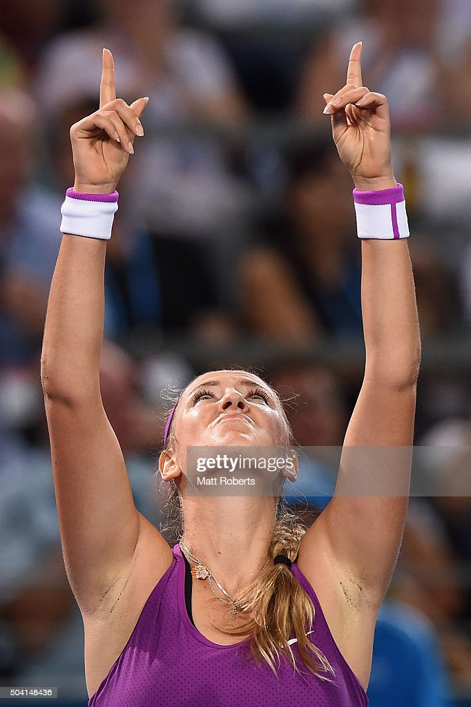 Victoria Azarenka of Belarus celebrates wiining her Women's Final against Angelique Kerber of Germany during day seven of the 2016 Brisbane...
