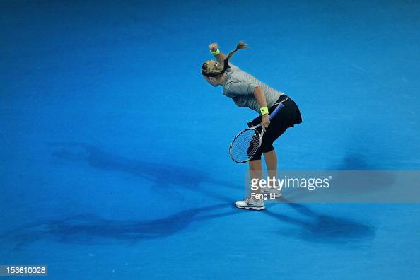 Victoria Azarenka of Belarus celebrates winning against Maria Sharapova of Russia during the Women's Single Final of the China Open at the China...