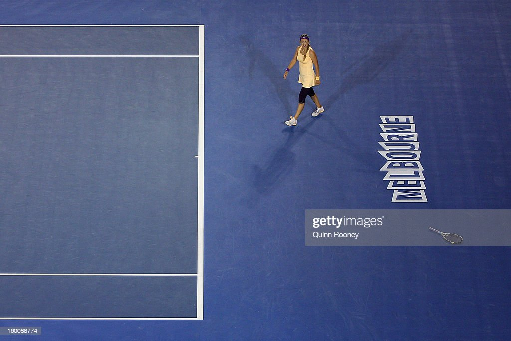 Victoria Azarenka of Belarus celebrates winning her women's final match against Na Li of China during day thirteen of the 2013 Australian Open at Melbourne Park on January 26, 2013 in Melbourne, Australia.