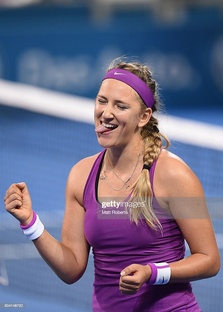 <a gi-track='captionPersonalityLinkClicked' href=/galleries/search?phrase=Victoria+Azarenka&family=editorial&specificpeople=604872 ng-click='$event.stopPropagation()'>Victoria Azarenka</a> of Belarus celebrates winning her Women's Final against Angelique Kerber of Germany during day seven of the 2016 Brisbane International at Pat Rafter Arena on January 9, 2016 in Brisbane, Australia.