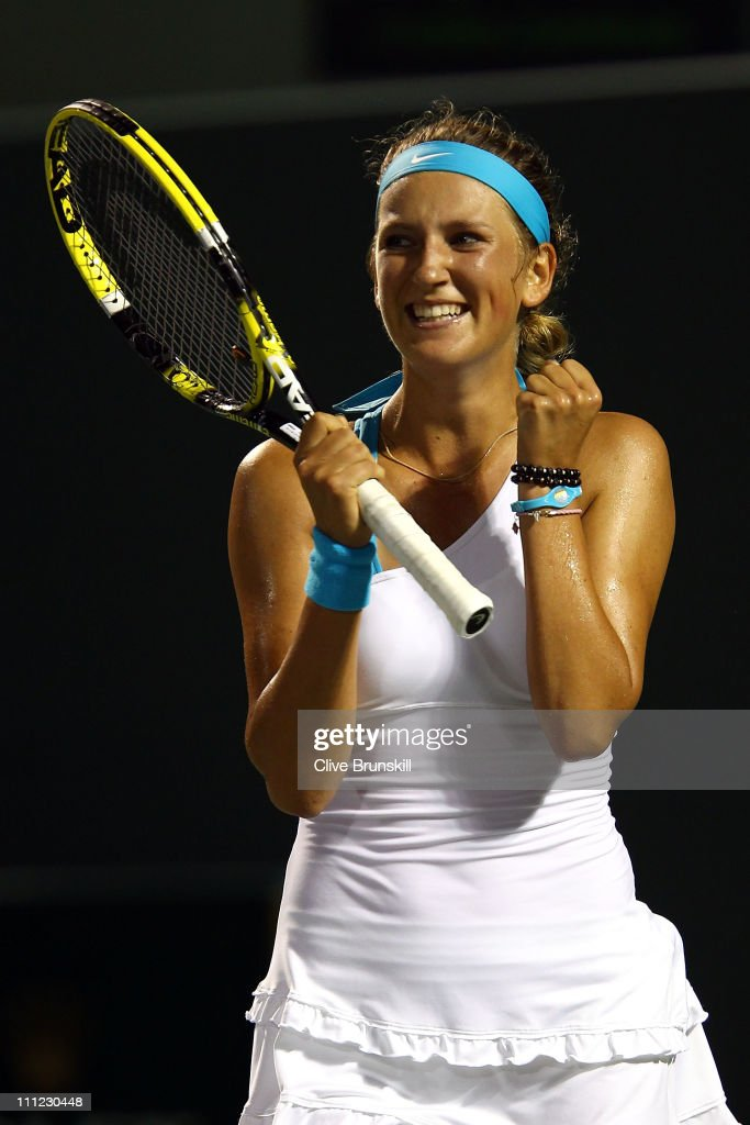 <a gi-track='captionPersonalityLinkClicked' href=/galleries/search?phrase=Victoria+Azarenka&family=editorial&specificpeople=604872 ng-click='$event.stopPropagation()'>Victoria Azarenka</a> of Belarus celebrates winning match point against Kim Clijsters of Belgium during the Sony Ericsson Open at Crandon Park Tennis Center on March 30, 2011 in Key Biscayne, Florida.