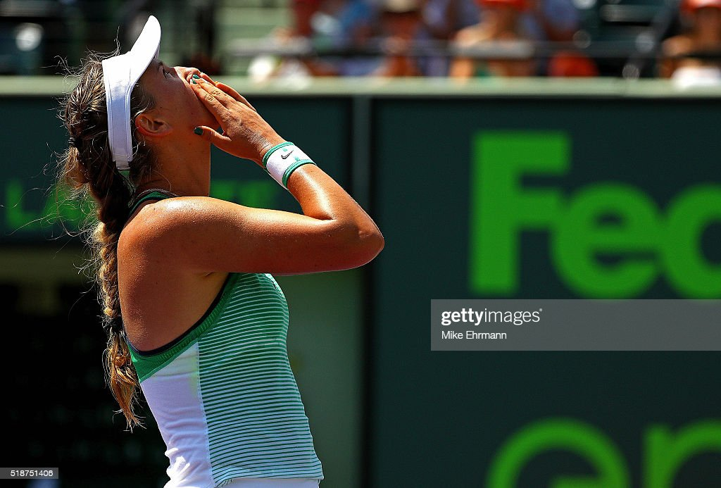 Victoria Azarenka of Belarus celebrates winning the Women's Final against Svetlana Kuznetsova of Russia during Day 13 of the Miami Open presented by...
