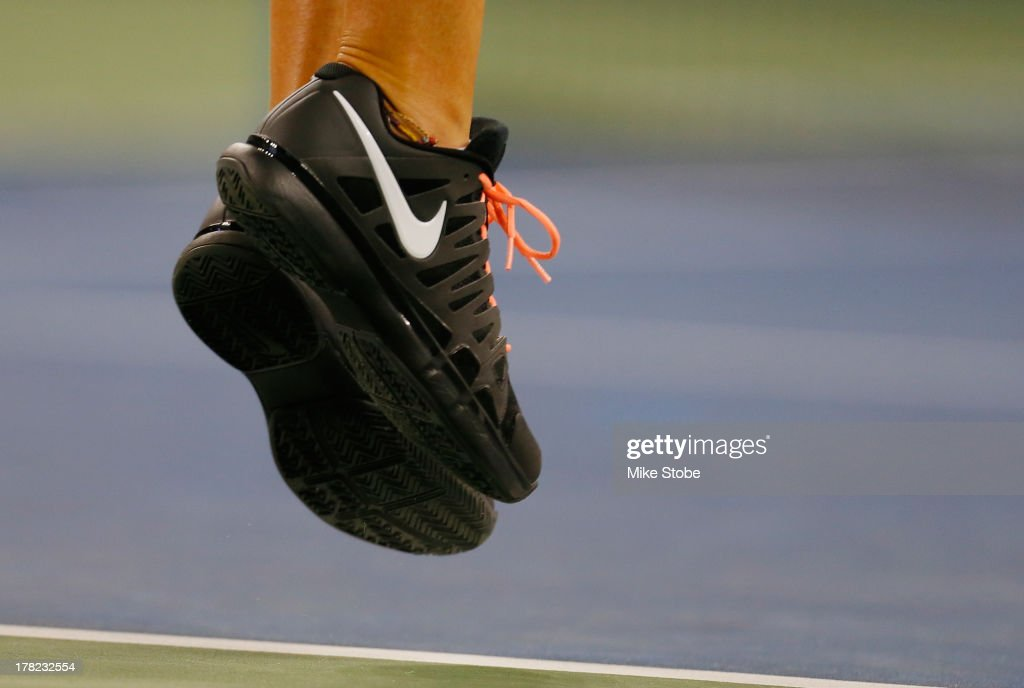 Victoria Azarenka of Belarus debuting a new Nike shoe during her women's singles first round match against Dinah Pfizenmaier of Germany on Day Two of the 2013 US Open at the USTA Billie Jean King National Tennis Center on August 27, 2013 in New York City.