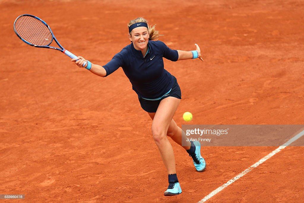 <a gi-track='captionPersonalityLinkClicked' href=/galleries/search?phrase=Victoria+Azarenka&family=editorial&specificpeople=604872 ng-click='$event.stopPropagation()'>Victoria Azarenka</a> of Belarus hits a forehand during the Ladies Singles first round match against Karin Knapp of Italy on day three of the 2016 French Open at Roland Garros on May 24, 2016 in Paris, France.