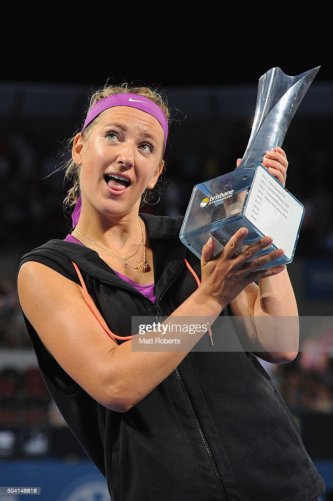Victoria Azarenka of Belarus holds the trophy after winning her Women's Final against Angelique Kerber of Germany during day seven of the 2016 Brisbane International at Pat Rafter Arena on January 9, 2016 in Brisbane, Australia.