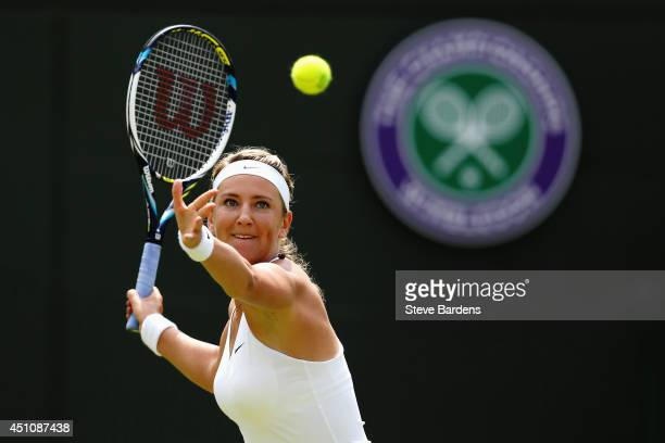 Victoria Azarenka of Belarus in action during her Ladies' Singles first round match against Mirjana LucicBaroni on day one of the Wimbledon Lawn...