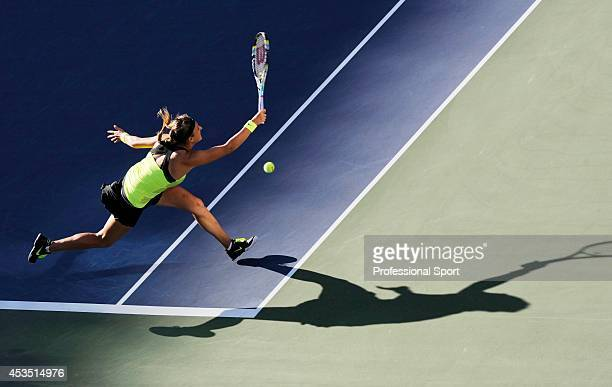 Victoria Azarenka of Belarus makes a running forehand return during the women's singles final match against Serena Williams of the United States on...