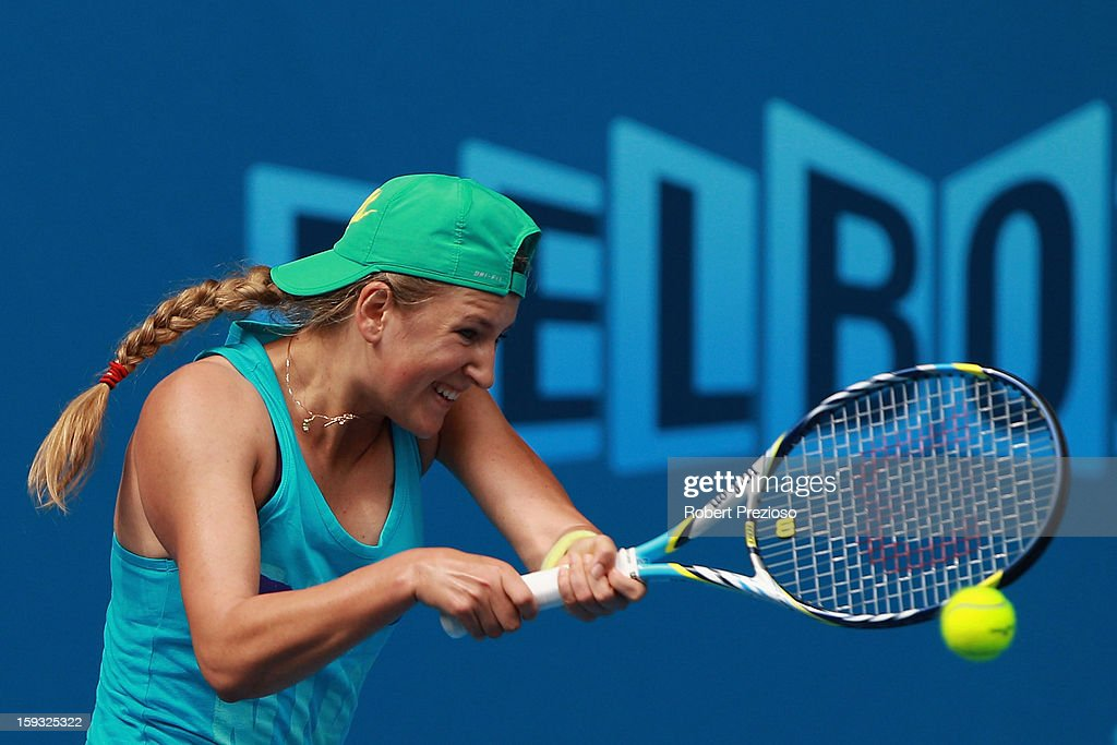 Victoria Azarenka of Belarus plays a backhand ahead of the 2013 Australian Open at Melbourne Park on January 12, 2013 in Melbourne, Australia.