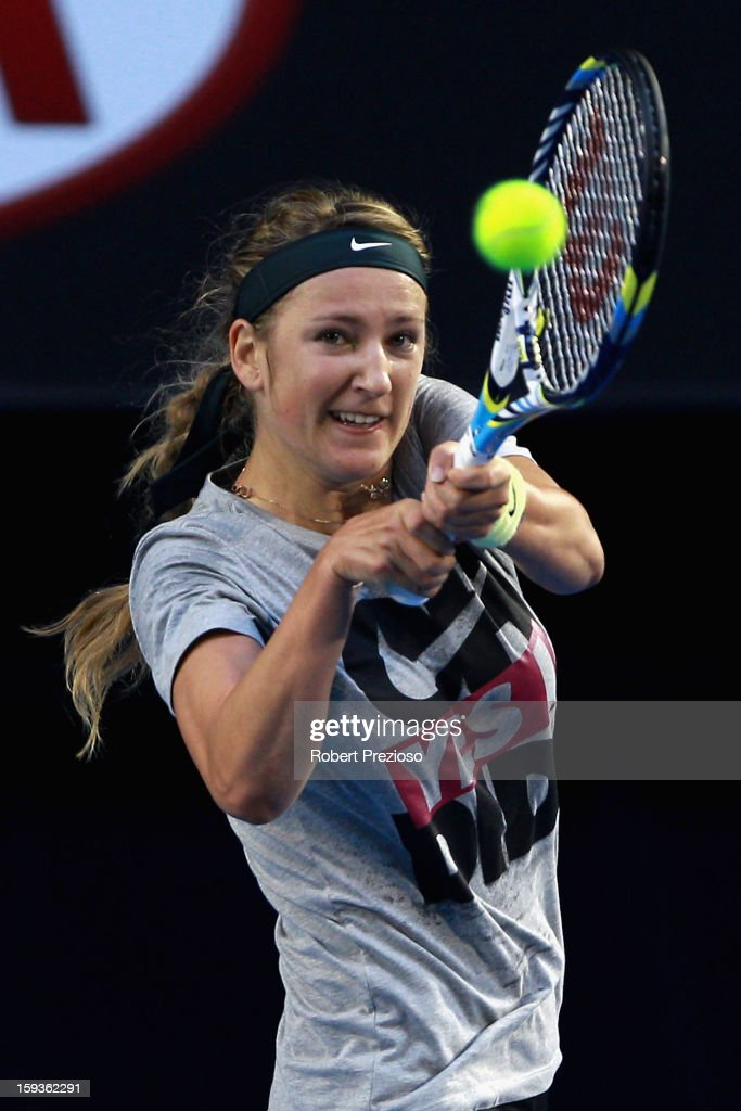 Victoria Azarenka of Belarus plays a backhand ahead of the 2013 Australian Open at Melbourne Park on January 13, 2013 in Melbourne, Australia.