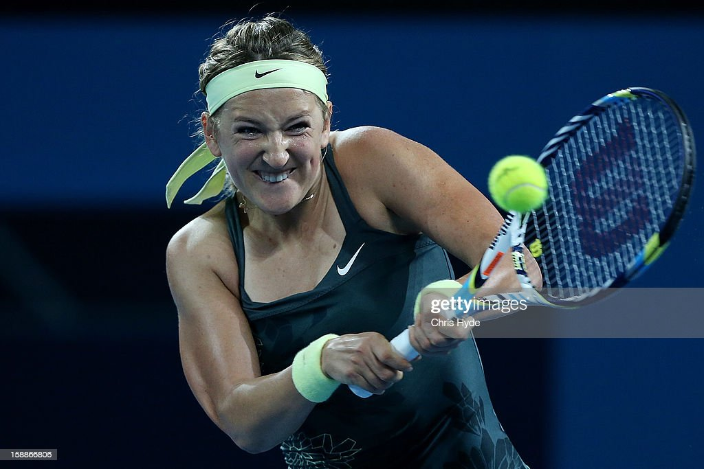 Victoria Azarenka of Belarus plays a backhand during her game against Sabine Lisicki of Germany on day four of the Brisbane International at Pat Rafter Arena on January 2, 2013 in Brisbane, Australia.