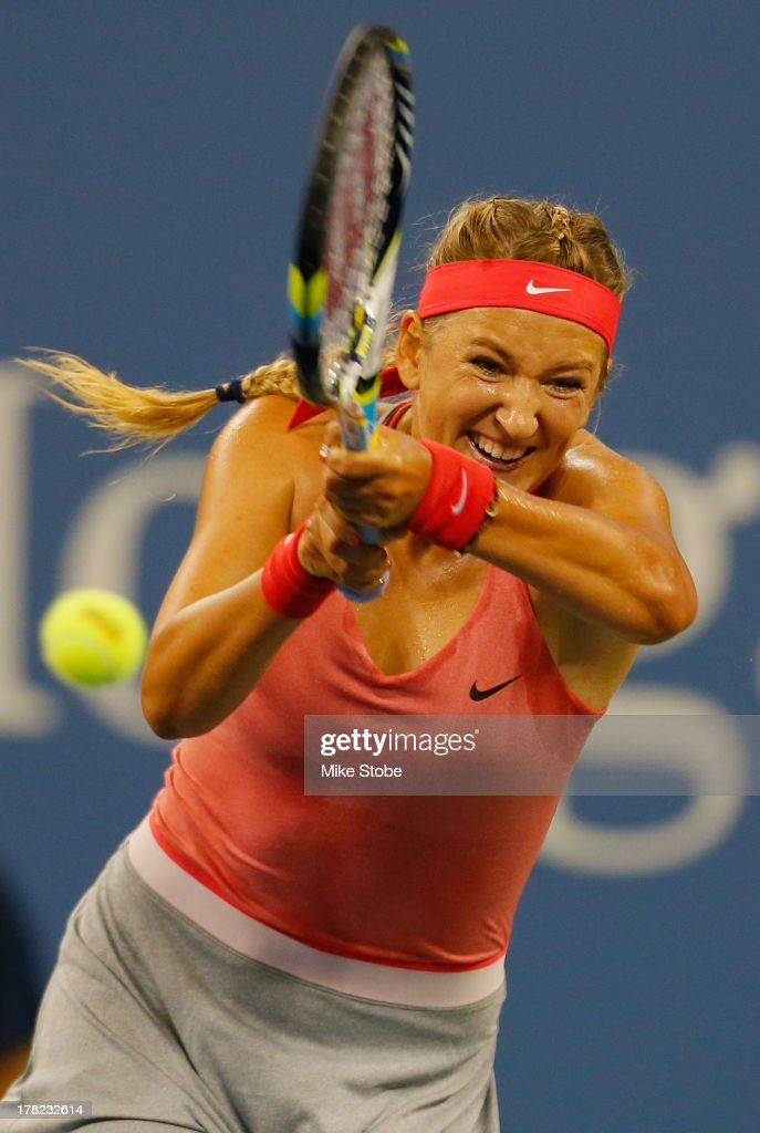 Victoria Azarenka of Belarus plays a backhand during her women's singles first round match against Dinah Pfizenmaier of Germany on Day Two of the 2013 US Open at the USTA Billie Jean King National Tennis Center on August 27, 2013 in New York City.