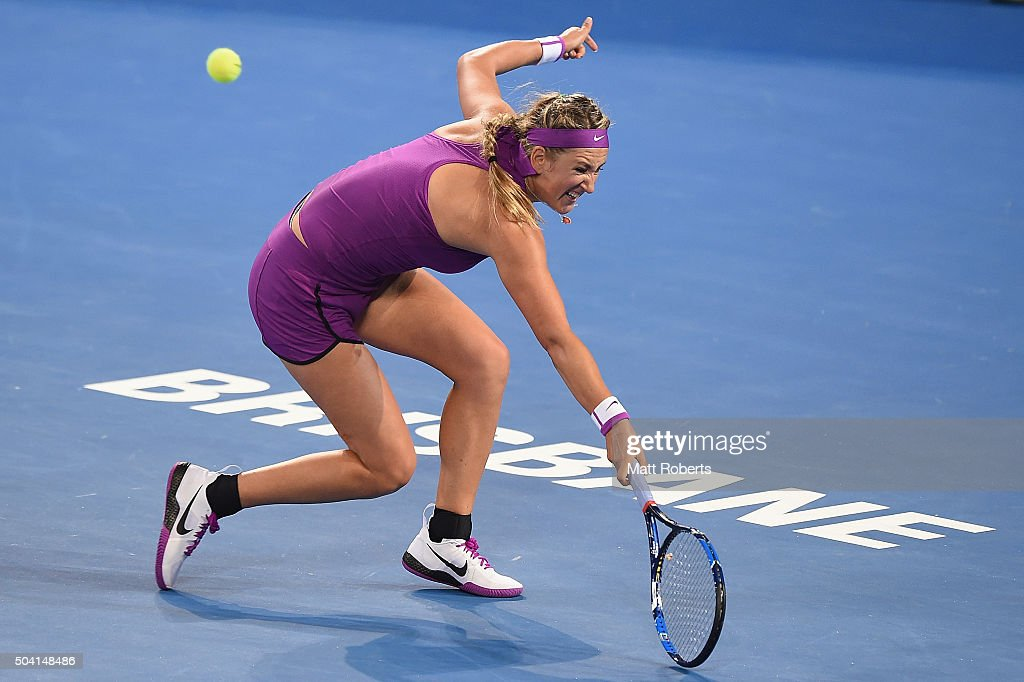 Victoria Azarenka of Belarus plays a backhand in the Women's Final against Angelique Kerber of Germany during day seven of the 2016 Brisbane...