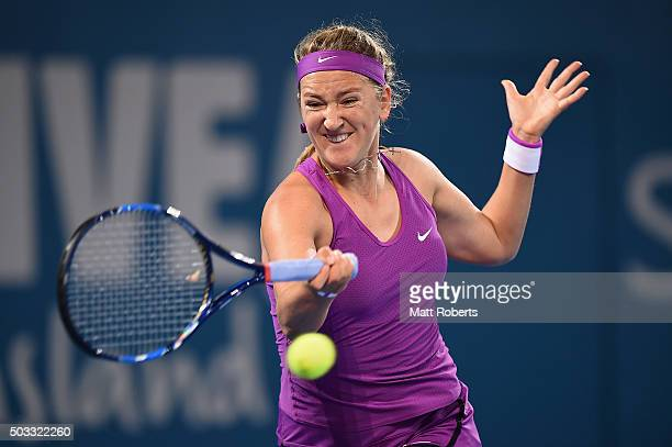 Victoria Azarenka of Belarus plays a forehand against Elena Vesnina of Russia during day two of the 2016 Brisbane International at Pat Rafter Arena...