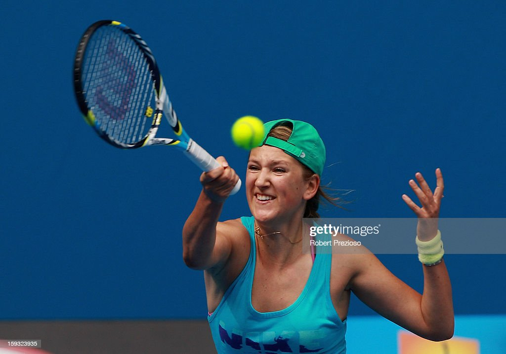 Victoria Azarenka of Belarus plays a forehand ahead of the 2013 Australian Open at Melbourne Park on January 12, 2013 in Melbourne, Australia.