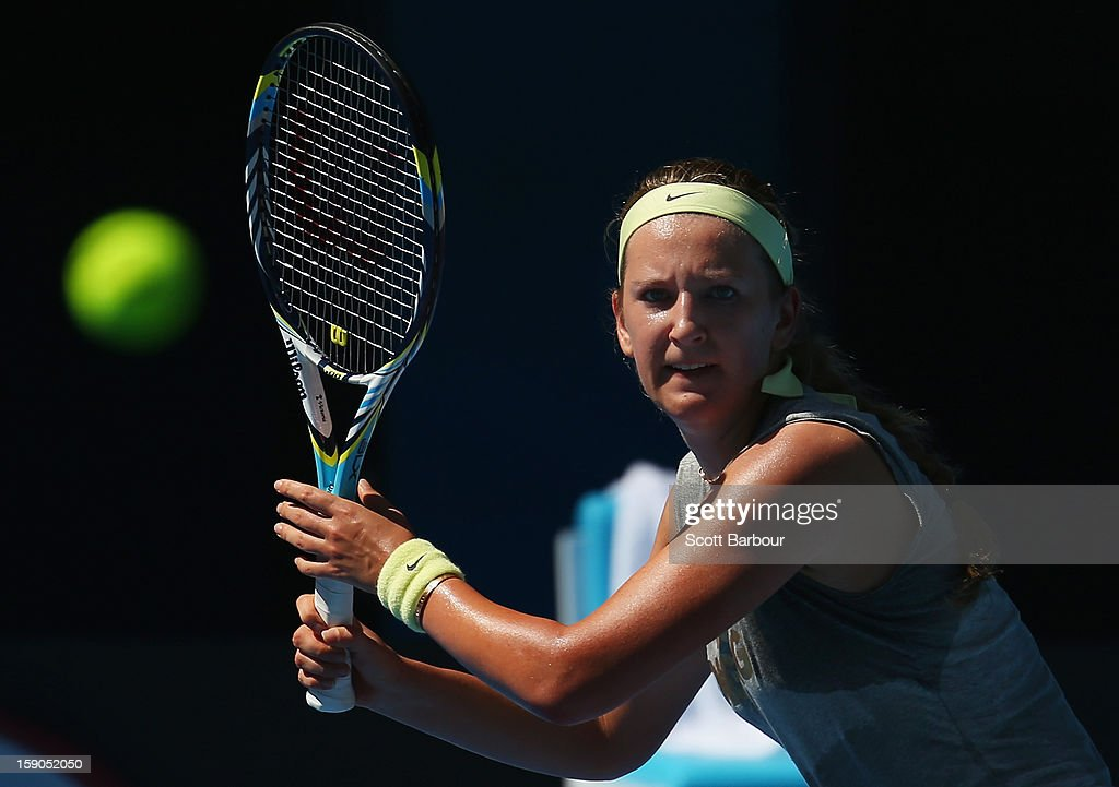 <a gi-track='captionPersonalityLinkClicked' href=/galleries/search?phrase=Victoria+Azarenka&family=editorial&specificpeople=604872 ng-click='$event.stopPropagation()'>Victoria Azarenka</a> of Belarus plays a forehand during a practice session ahead of the 2013 Australian Open at Melbourne Park on January 7, 2013 in Melbourne, Australia.