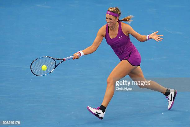 Victoria Azarenka of Belarus plays a forehand in her match against Ysaline Bonaventure of Belgium during day four of the 2016 Brisbane International...