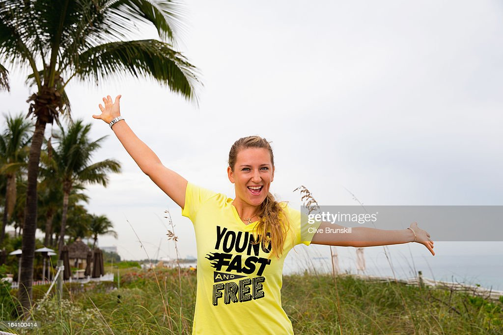 <a gi-track='captionPersonalityLinkClicked' href=/galleries/search?phrase=Victoria+Azarenka&family=editorial&specificpeople=604872 ng-click='$event.stopPropagation()'>Victoria Azarenka</a> of Belarus poses for a photograph during a WTA all access hour at the Ritz Carlton Hotel on March 19, 2013 in Key Biscayne, Florida.