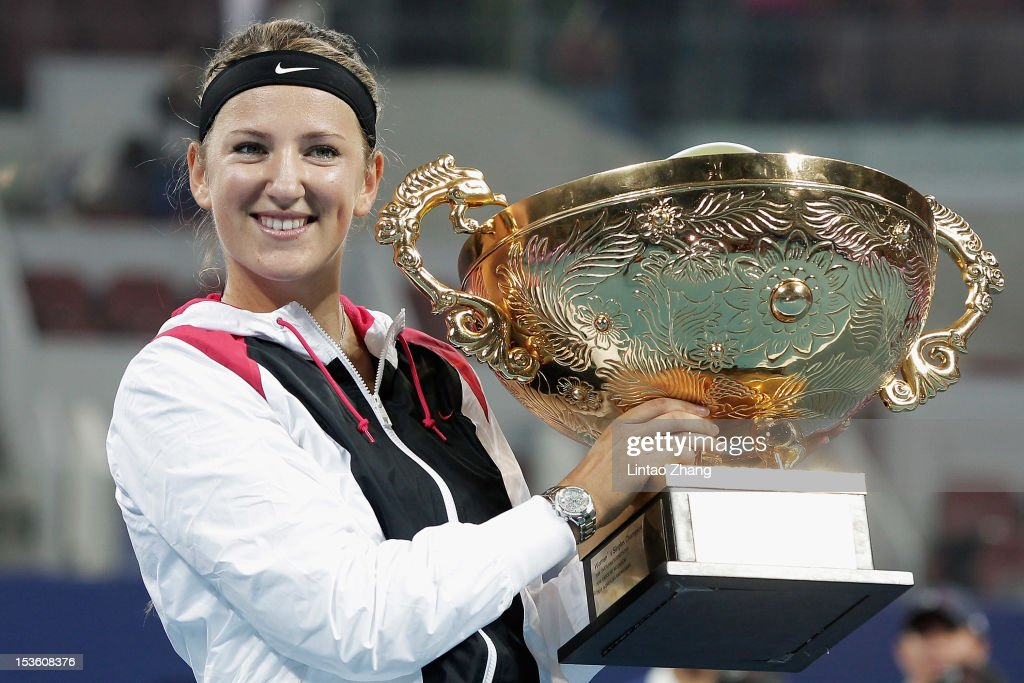 <a gi-track='captionPersonalityLinkClicked' href=/galleries/search?phrase=Victoria+Azarenka&family=editorial&specificpeople=604872 ng-click='$event.stopPropagation()'>Victoria Azarenka</a> of Belarus poses with the trophy after defeating Maria Sharapova of Russia in the Women's Single Final of the China Open at the China National Tennis Center on October 7, 2012 in Beijing, China.