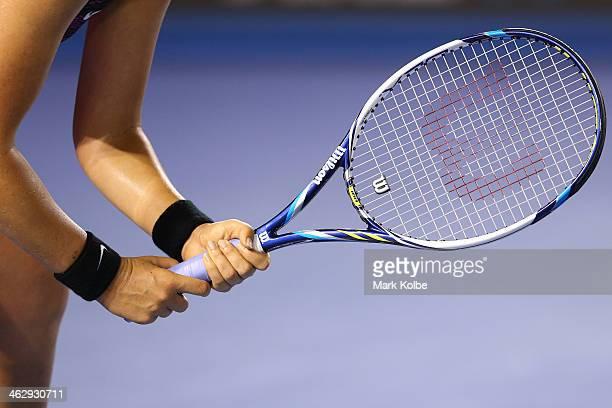Victoria Azarenka of Belarus prepares to return serve in her second round match against Barbora Zahlavova Strycova of the Czech Republic during day...