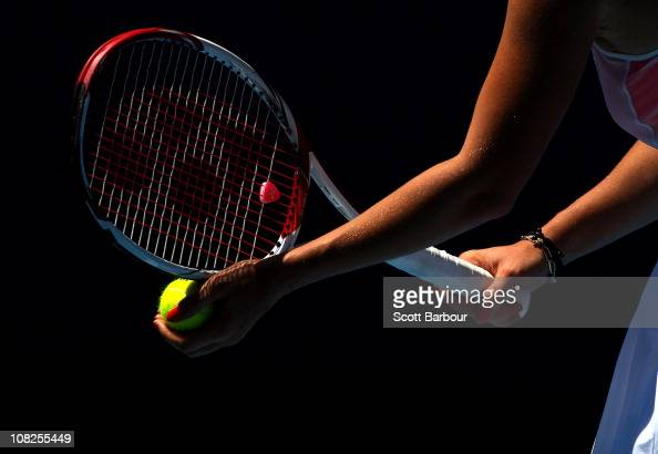 Victoria Azarenka of Belarus prepares to serve in her fourth round match against Na Li of China during day seven of the 2011 Australian Open at...
