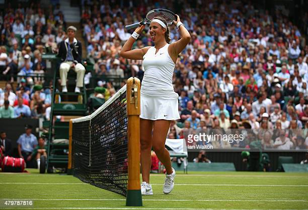Victoria Azarenka of Belarus reacts in her Ladies Singles Quarter Final match against Serena Williams of the United States during day eight of the...