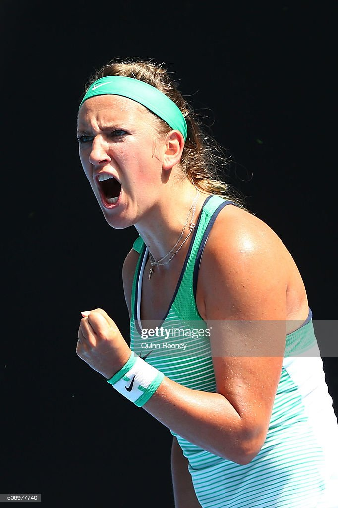 Victoria Azarenka of Belarus reacts in her quarter final match against Angelique Kerber of Germany during day 10 of the 2016 Australian Open at Melbourne Park on January 27, 2016 in Melbourne, Australia.