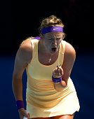 Victoria Azarenka of Belarus reacts in her third round match against Jamie Hampton of the United States during day six of the 2013 Australian Open at...