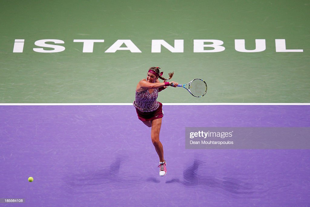 <a gi-track='captionPersonalityLinkClicked' href=/galleries/search?phrase=Victoria+Azarenka&family=editorial&specificpeople=604872 ng-click='$event.stopPropagation()'>Victoria Azarenka</a> of Belarus returns a forehand to Sara Errani of Italy during day one of the TEB BNP Paribas WTA Championships at the Sinan Erdem Dome October 22, 2013 in Istanbul, Turkey.