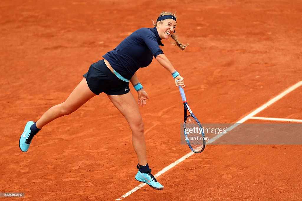 <a gi-track='captionPersonalityLinkClicked' href=/galleries/search?phrase=Victoria+Azarenka&family=editorial&specificpeople=604872 ng-click='$event.stopPropagation()'>Victoria Azarenka</a> of Belarus serves during the Ladies Singles first round match against Karin Knapp of Italy on day three of the 2016 French Open at Roland Garros on May 24, 2016 in Paris, France.