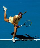 Victoria Azarenka of Belarus serves in her third round match against Jamie Hampton of the United States during day six of the 2013 Australian Open at...
