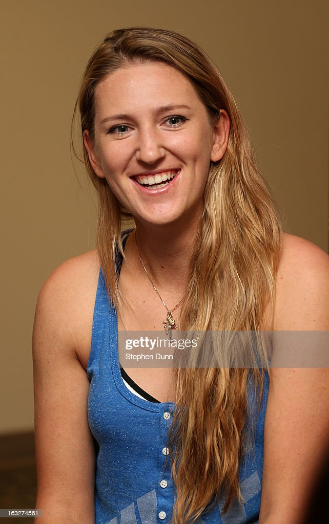 Victoria Azarenka of Belarus speaks to the media during All Access Hour during day 1 of the BNP Paribas Open at Indian Wells Tennis Garden on March 6, 2013 in Indian Wells, California.