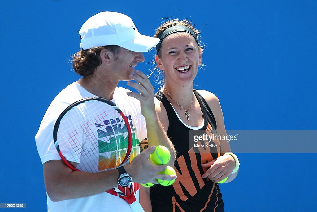 Victoria Azarenka of Belarus speaks with her coach Samuel Sumyk in a practice session during day nine of the 2013 Australian Open at Melbourne Park on January 22, 2013 in Melbourne, Australia.
