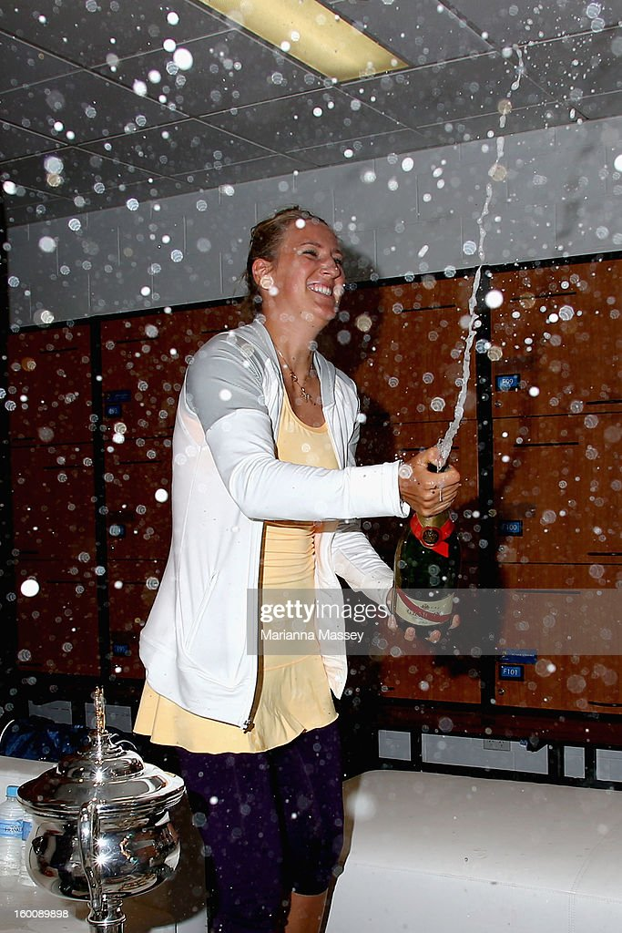 Victoria Azarenka of Belarus sprays a bottle of champagne after winning her women's final match against Na Li of China during day thirteen of the 2013 Australian Open at Melbourne Park on January 26, 2013 in Melbourne, Australia.