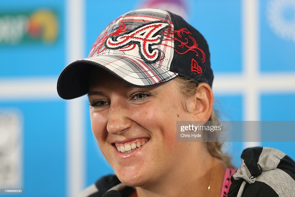 Victoria Azarenka of Belarus talks during a media conference after winning her game against Sabine Lisicki of Germany on day four of the Brisbane International at Pat Rafter Arena on January 2, 2013 in Brisbane, Australia.