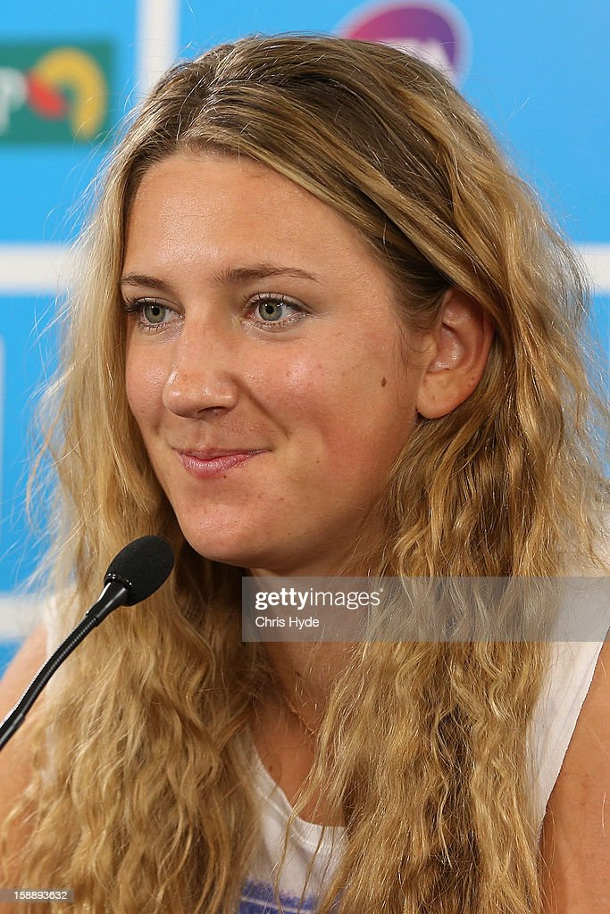 Victoria Azarenka of Belarus talks during a media conference after winning her match against Ksenia Pervak of Kazakhstan during day five of the Brisbane International at Pat Rafter Arena on January 3, 2013 in Brisbane, Australia.