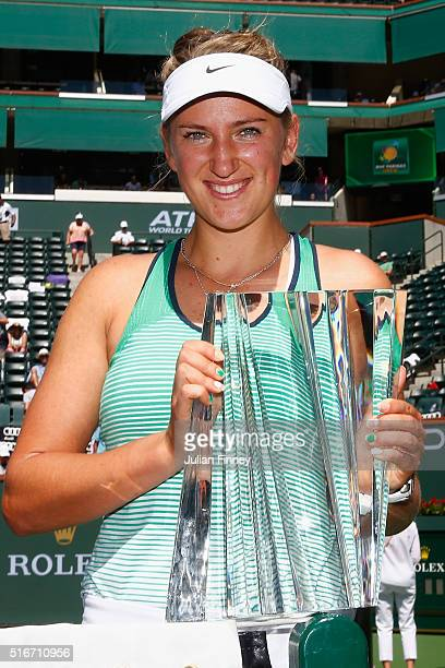 Victoria Azarenka of Belarus with the winners trophy after defeating Serena Williams of USA after the final during day fourteen of the BNP Paribas...