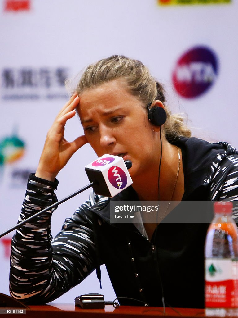 Victoria Azarenka of The Republic of Belarus speaks at a press conference after she withdraw in the middle of a match in day 3 of 2015 Dongfeng Motor...