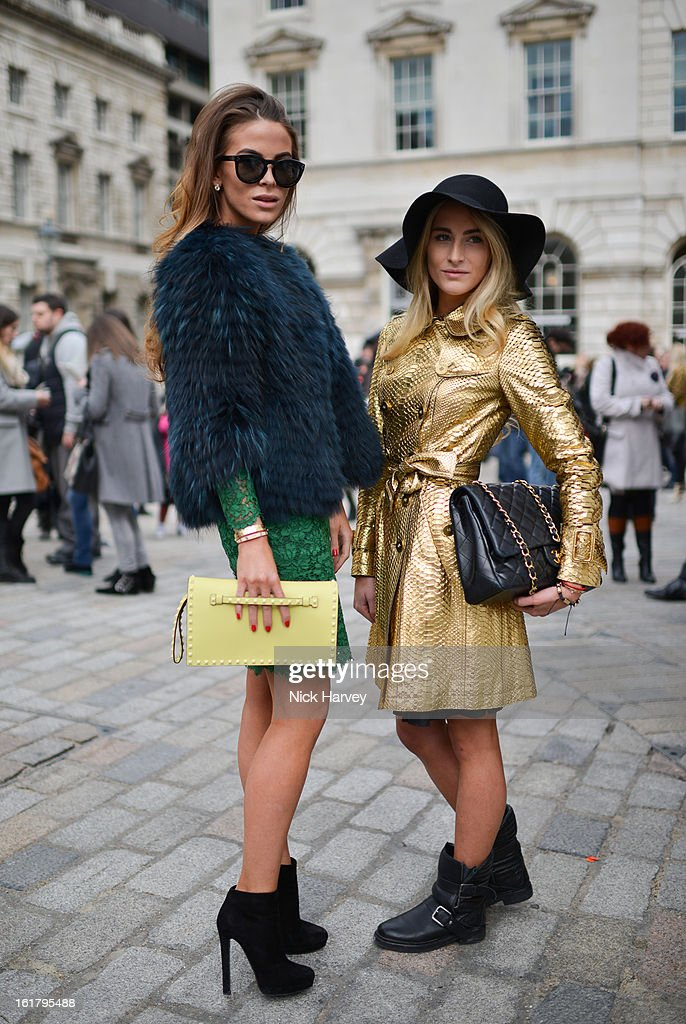 Victoria Baker-Harber (L) and Ellie Baker-Harber during London Fashion Week Fall/Winter 2013/14 at Somerset House on February 16, 2013 in London, England.