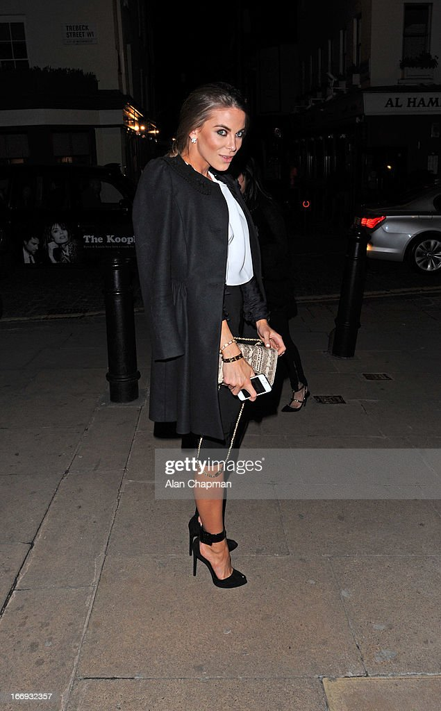 Victoria Baker-Harber sighting arriving at Loulou's Mayfair on April 18, 2013 in London, England.
