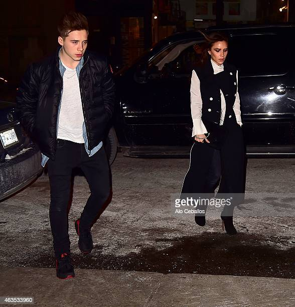 Victoria Beckham and Brooklyn Joseph Beckham are seen in Chelsea on February 15 2015 in New York City