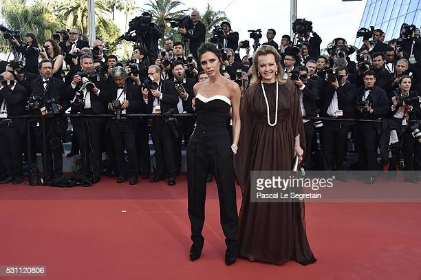 Victoria Beckham and Caroline Scheufele attend the 'Cafe Society' premiere and the Opening Night Gala during the 69th annual Cannes Film Festival at...